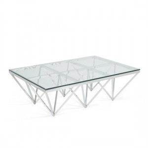 Star Rectangular Glass Coffee Table Polished Stainless Steel