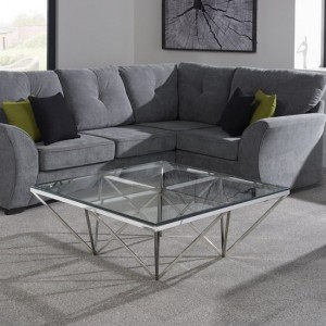 Star Square Glass Coffee Table Polished Stainless Steel Base