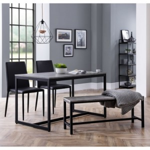 Staten Concrete Effect Dining Table With Bench And 2 Jazz Black Chairs