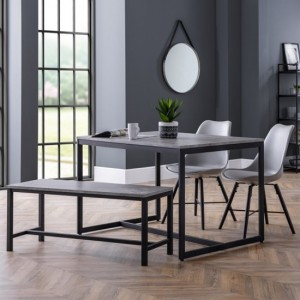 Staten Concrete Effect Dining Table With Bench And 2 Kari Grey Chairs