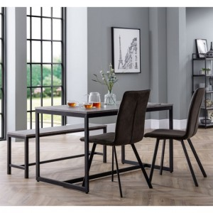 Staten Concrete Effect Dining Table With Bench And 2 Monroe Chairs
