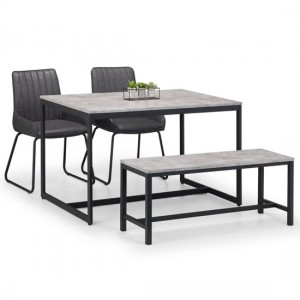 Staten Concrete Effect Dining Table With Bench And 2 Soho Chairs
