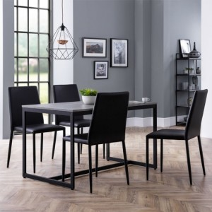 Staten Dining Table In Concrete Effect With 4 Jazz Black Chairs