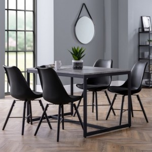 Staten Dining Table In Concrete Effect With 4 Kari Black Chairs