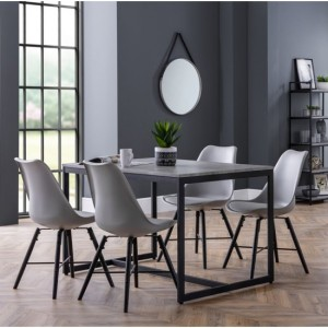 Staten Dining Table In Concrete Effect With 4 Kari Grey Chairs