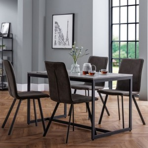 Staten Dining Table In Concrete Effect With 4 Monroe Chairs