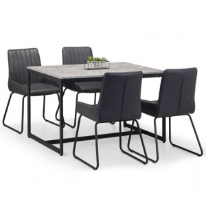 Staten Dining Table In Concrete Effect With 4 Soho Chairs