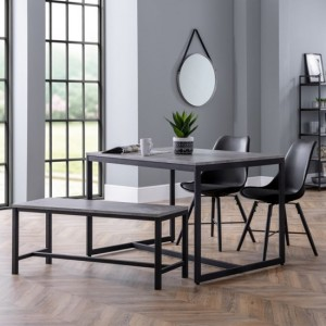 Staten Dining Table In Concrete Effect With Bench And 2 Kari Black Chairs