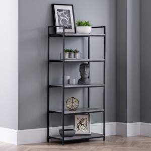 Staten Wooden Tall Bookcase In Concrete Effect