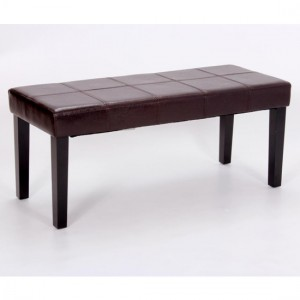 Stella Faux Leather Seating Bench In Brown With Wooden Legs