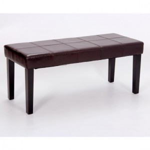 Stella PU Leather Bench In Brown With Black Metal Legs