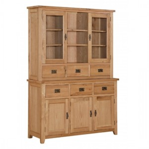 Stirling Large Display Unit In Light Oak With 3 Doors