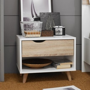 Stockholm Wooden Bedside Table In Oak And White With 1 Drawer