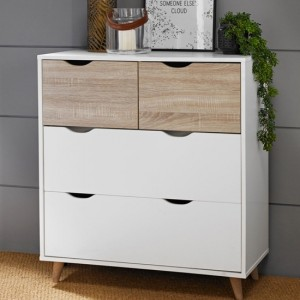 Stockholm Wooden Chest Of Drawers In Oak And White With 4 Drawers