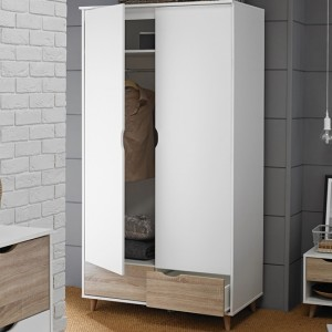 Stockholm Wooden Wardrobe In Oak And White With 2 Doors