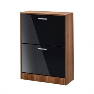 Strand Wooden Shoe Storage Cabinet In Black With 2 Drawers