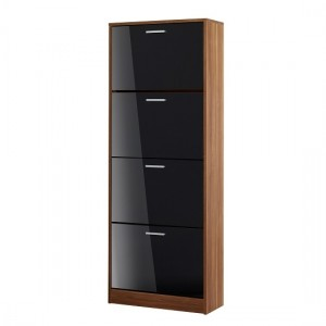 Strand Wooden Shoe Storage Cabinet In Black With 4 Drawers