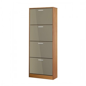 Strand Wooden Shoe Storage Cabinet In Grey With 4 Drawers