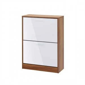 Strand Wooden Shoe Storage Cabinet In White With 2 Drawers