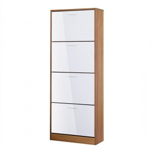 Strand Wooden Shoe Storage Cabinet In White With 4 Drawers