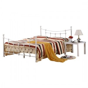 Surrey Metal King Size Bed In White
