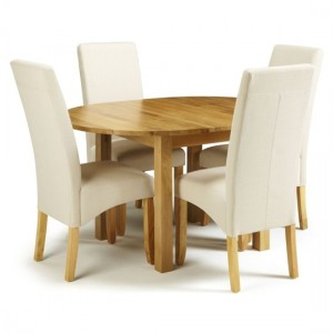 Sutton Round Extending Dining Table In Oak With 4 Putty Fabric Merton Chairs
