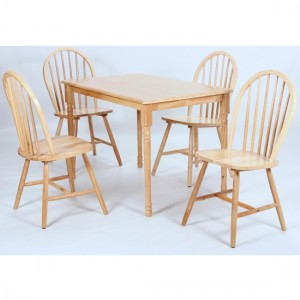 Sutton Wooden Dining Set In Natural With 4 Chairs