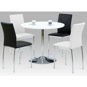 Sylvia Dining Set In White High Gloss With 4 Carina Black And White Chairs