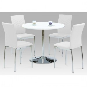 Sylvia Dining Set In White High Gloss With 4 Carina White Chairs
