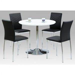 Sylvia Wooden Dining Set In White High Gloss With 4 Carina Chairs