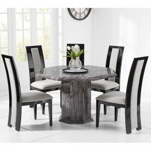 Venezia Grey Marble Dining Table Octagonal And 4 Elbani Chairs