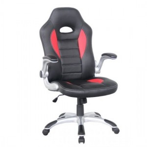 Talladega Faux Leather Home And Office Chair In Black And Red