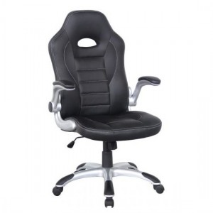 Talladega Faux Leather Home And Office Chair In Black