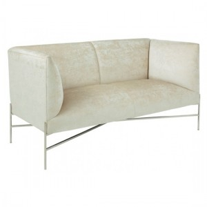 Tanya Cream Velvet 2 Seater Sofa With Stainless Steel Legs