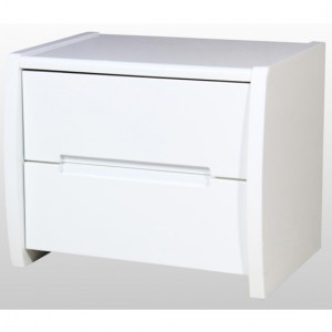 Tanya Wooden Bedside Cabinet In High Gloss White With 2 Drawers