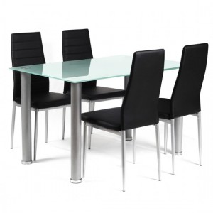 Tatum Frost Glass Dining Set With Silver Legs And 4 Chairs