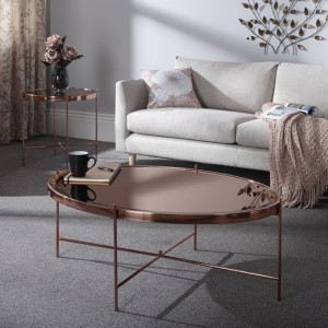 Taurus Mirrored Coffee Table In Rose Gold With Metal Frame