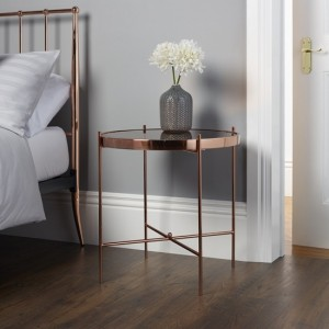 Taurus Mirrored Lamp Table In Rose Gold With Metal Frame