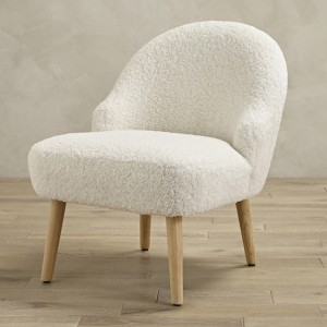 Ted Faux Fur Bedroom Chair In White With Natural Legs