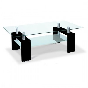 Telford Glass Coffee Table With Black High Gloss Wooden Legs