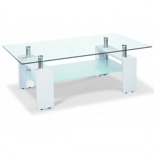 Telford Glass Coffee Table With White High Gloss Wooden Legs