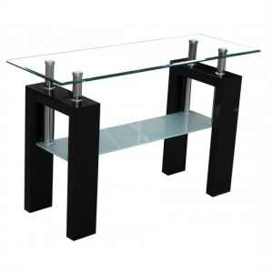 Telford Glass Console Table In Black High Gloss