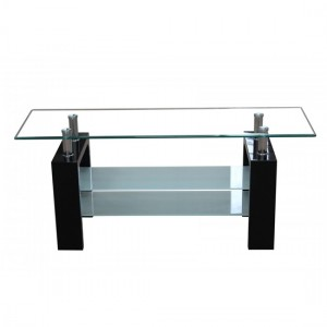 Telford Glass TV Stand With Black High Gloss Legs