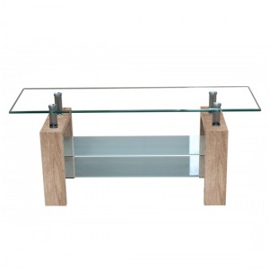 Telford Glass TV Stand With Natural Wooden Legs