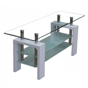 Telford Glass TV Stand With White High Gloss Legs