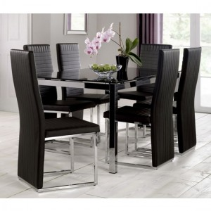 Tempo Black Glass Dining Table With 6 Black Faux Leather Chairs