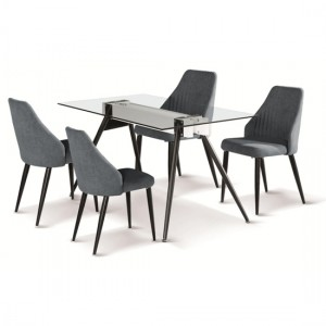 Tessa Clear Glass Dining Set With Black Metal Legs And 4 Chairs