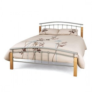 Tetras Metal Double Bed In Silver With Beech Posts