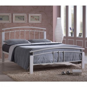 Tetras Metal Double Bed In White And Oak Wooden Frame