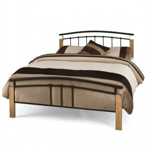 Tetras Metal King Size Bed In Black With Beech Posts